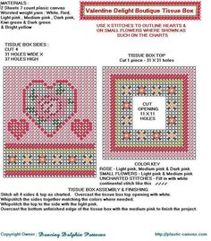 Valentine Delight Tissue Box cover - Heart and rose Plastic Canvas Coasters, Plastic Canvas Tissue Boxes, Plastic Canvas Crafts, Plastic Canvas Patterns, Needlepoint Patterns, Cross Stitch Patterns, Box Patterns, Heart Patterns, Heart Canvas