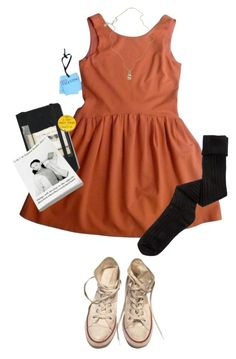 """""""goodwill"""" by kampow ❤ liked on Polyvore featuring RED Valentino, K. Bell, Moleskine, Converse and Jessica de Lotz Jewellery"""