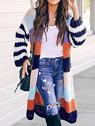 Striped Cardigan Women Sweater Long Sleeve V Neck Casual Knitted Cardigans Open Stitch Plus Size 2019 Autumn Winter Female Coat Striped Cardigan, Long Cardigan, Knit Cardigan, Striped Knit, Longline Cardigan, Fashion Seasons, Sweater Coats, Cardigan Sweaters, Casual Sweaters