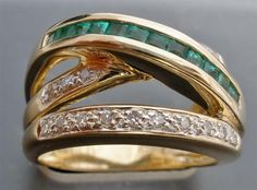 14k Yellow Gold Princess Cut Natural Emerald Diamond Carat Size 7 5 Ring Vintage | eBay