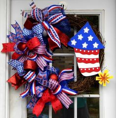 Patriotic Wreath, Red White Blue Wreath, Firecracker Wreath, Grapevine Wreath by HolidaysAreSpecial on Etsy