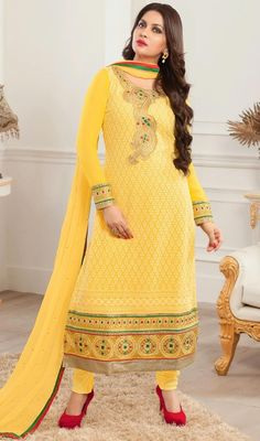 Genuine splendor comes out as a result of the dressing style with this yellow faux georgette embroidered churidar suit. The ethnic lace and resham work in dress adds a sign of splendor statement for your look. #NewDesignCasualDresses