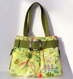 Green Early Birds Purse with Belt and Buckle by moonflower20, $75.00
