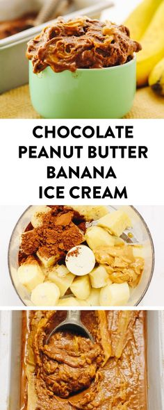 Healthy Chocolate Peanut Butter Banana Ice Cream. It's made with just 3 simple ingredients and is ready in minutes! It's also gluten-free, vegan and paleo. Ice cream just got a healthy makeover! #vegan #glutenfree #bananaicecream #banana #banananicecream #chocolatepeanutbutter #dairyfreedessert