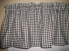 Black White Checks Checked fabric window topper curtain Valance  #Handmade