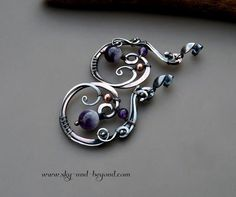 Eternal Journey Earrings - Handcrafted Fine Silver / Copper Wire Wrapped with Amethyst