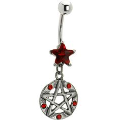 Red Cubic Zirconia Gothic Pentacle Belly Ring | Body Candy Body Jewelry #bodycandy #piercings #bellyring