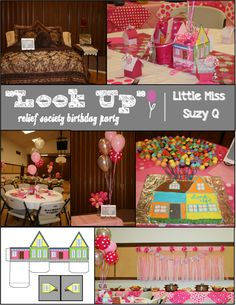 "Little Miss Suzy Q -ADORABLE RS PARTY ""Look UP!"" with clever handout center pieces, this whole blog is Brilliant with hand outs and ideas!"