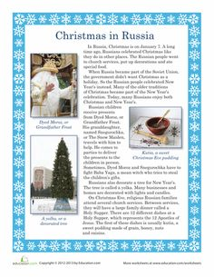 Worksheets: Christmas in Russia  Tutors, Worksheets and more at: www.TutorFrog.com/worksheets-wyzant