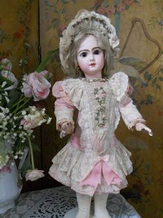 ~~~ Most Beautiful French BeBe Silk and Lace Dress with Bonnet ~~~ from whendreamscometrue on Ruby Lane