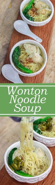 tempted to employ a bunch of words to describe this Wonton Noodle Soup but I won't despite the fact that this bowl of noodles is cozy, delicious, warm, enjoyable, satisfying and appetizing. Wonton Noodle Soup, Wonton Noodles, Noodle Soups, Asian Recipes, Healthy Recipes, Ethnic Recipes, Asian Desserts, Healthy Food, Wan Tan