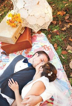 Picnic shot! Love it. View more from this Knoxville wedding with yellow and navy fall details captured by Danielle Evans Photography at The Barn at Chestnut Springs! | The Pink Bride www.thepinkbride.com