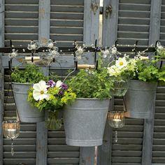 zinc bucket planters on repurposed shutters