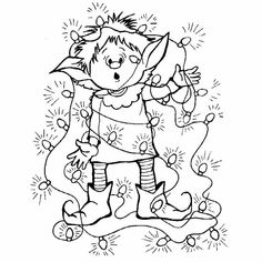 * * * The ideas box workshop * * *: Coloring Christmas Coloring Pages, Coloring Book Pages, Coloring Pages For Kids, Christmas Elf, Christmas Colors, Christmas Crafts, Illustration Noel, Christmas Embroidery, Digi Stamps