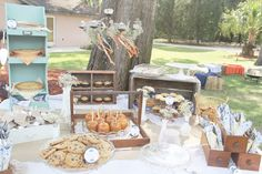 backyard wedding dessert table! Love the Carmel apples and pies to help tie in carnival to the theme.