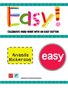 Easy button positive reinforcement - so cute!