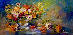 "Oil painting on canvas ""Mixed Roses"" 15 x 30 inches by Artist Nora Kasten"