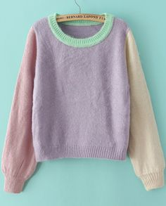 Buy Purple Long Sleeve Knit Crop Loose Sweater from abaday.com, FREE shipping Worldwide - Fashion Clothing, Latest Street Fashion At Abaday.com