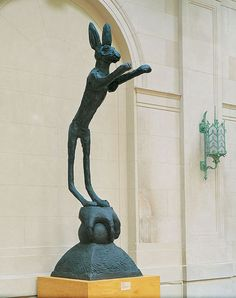 """""""Hare on Ball and Claw"""" (1989-90) by Barry Flanagan    -In the collection of the Columbus Museum of Art"""
