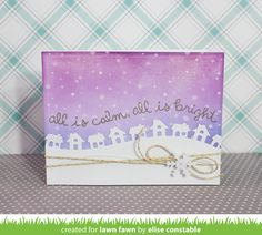 Little Town Border, Snowy Backdrops _ card by Elise for Lawn Fawn