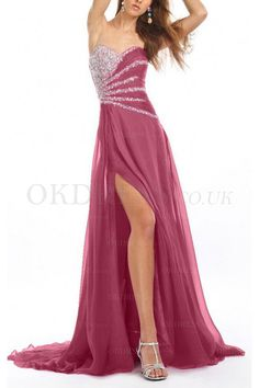 Purple Floor-length Chiffon Natural Evening Dresses - by OKDress UK