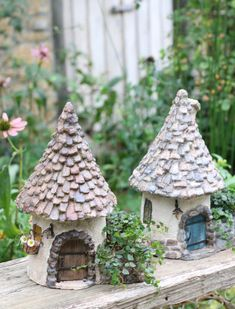Mini Fairy Garden, Fairy Garden Houses, Clay Houses, Ceramic Houses, House Candle Holder, Clay Fairy House, Pottery Houses, Clay Fairies, Cement Crafts