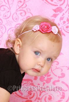 Girly Pink Hot Pink Roses on Pink Bitty Baby Band