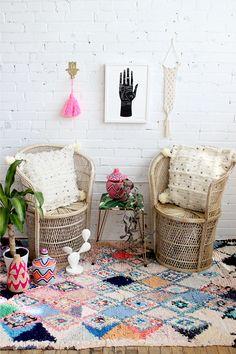 Boucherouite rug and bohemian decor by Baba Souk
