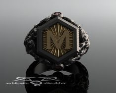 Men's heavy signet ring in 18kt and sterling. Red от DeMerJewelry