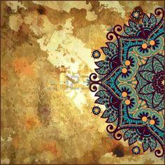 dise o del c rculo de la flor en fondo del grunge con adornos de encaje de oro Foto de archivo