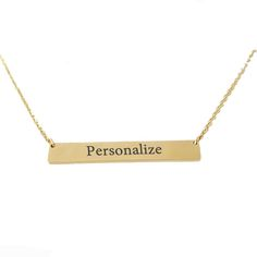 Gold Personalized Or Blank Bar Pendant Necklace Stainless Steel Custom Name Plate Necklace Can Engrave Word Letters Pendant
