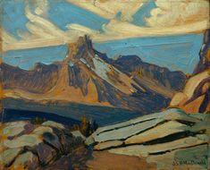 J.E.H. MacDonald - Cathedral Mountain, 1927, Oil on paperboard - J. E. H. MacDonald - Wikipedia Beautiful Landscape Paintings, Brush Strokes, Fresco, Cathedral, Canvas, Places, Connect, Bond, Mountain