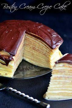 Boston Cream Crepe Cake