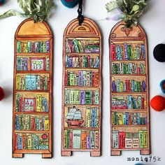 Handmade Watercolor Bookmarks To Buy, To Make, and To Print Book Crafts, Diy And Crafts, Arts And Crafts, Paper Crafts, Craft Books, Craft Art, Diy Art, Creative Bookmarks, Diy Bookmarks