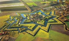 Aerial view of Bourtange Castle, the Netherlands