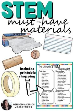 Must-have materials for any STEM challenge! Find out which other items may be useful for you, too, and download the shopping list to keep on hand when you run to your favorite dollar store, craft store, or Target!   Meredith Anderson - Momgineer