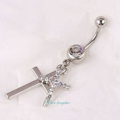AKS-037 2015 Fashion 2 Cross Mosaic Rhinestone Body Piercing Jewelry Dangle  Ladies Navel Ring Wholesales Accessory Gift ff22d2dde82d