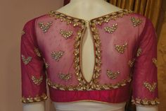 Amazing Back Neck Net Blouse Designs For Designer Net Sarees 2015 Saree Blouse Patterns, Saree Blouse Designs, Blouse Styles, Netted Blouse Designs, Blouse Back Neck Designs, Indian Blouse, Indian Wear, Indian Attire, Net Blouses