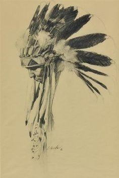 native american indian drawing headdress indians drawings artwork charcoal pencil tattoos loren entz easy paper mutualart
