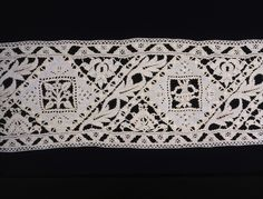 Italy    Insertion for Cover, Late 16th century    Linen, plain weave; embroidered in buttonhole, double hem, overcast back, overcast, and satin stitches; eyelet holes; cut and drawn thread work embroidered in buttonhole and hem stitches with needle lace fillings (including: buttonhole and overcast bars, some decorated with woven picots, lace filling stitches, etc., some decorated with buttonhole picots and overcast edges)  19.7 x 214.5 cm (7 3/4 x 84 3/8 in.)  Weft repeat: 42.6-43.9 cm (16…
