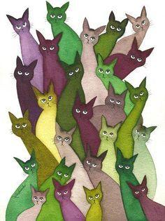 Whimsical Cats:Watercolour Art 'So Many Stray Cats' by Lori Alexander #straycatart ♥•♥•♥