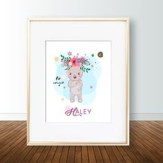 Your place to buy and sell all things handmade Flower On Head, Cute Bears, Nursery Prints, Poster Wall, Art Work, Digital Prints, My Etsy Shop, Posters, Wall Art