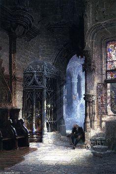 Elle viendra demain, huile sur toile de Edwin Deakin (1838-1923, United Kingdom)
