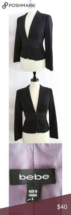 """bebe Size 6 Gray Blazer Size 6 64% polyester,  32% viscose, 4% spandex Lined Hook and eye closures Beautiful  Check out my other listings.  I love to bundle!  Measurements laying flat:  Armpit to armpit:  18.75"""" Length:  20.75"""" Sleeves: 22"""" bebe Jackets & Coats Blazers"""