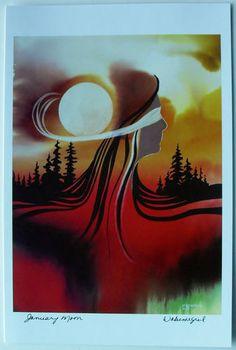$6.99  Native Fine ART Card Blank January Moon BY Wabimeguil Betty Albert Lincez   eBay  #holiday #stationary #greetingcard