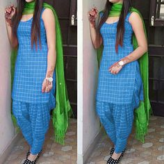 Latest Blue And Green Color Daily Wear Patiala Salwar Suit.