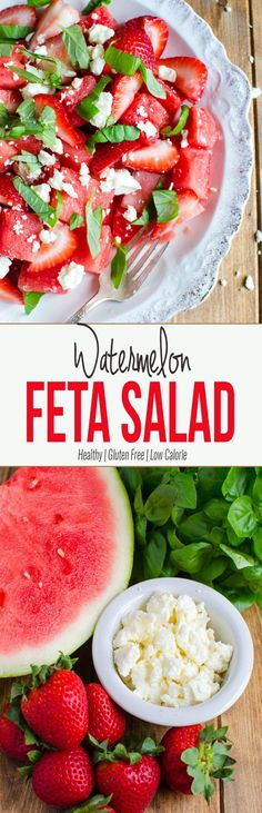 Watermelon Feta Salad: Simple, refreshing watermelon salad to enjoy fresh fruits. Perfect as a side dish or a low-calorie meal. Healthy, nutritious & gluten free. via @watchwhatueat