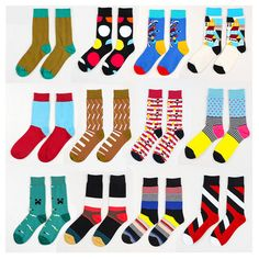 2016 de Moda de Verano Para Hombre de Algodón Calcetines de Rayas de Colores Calcetines del Color del Golpe de Punto Jacquard Arte Feliz a Largo Calcetines de Vestir de Los Hombres calcetín