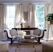 living rooms - french settee white drapes mirrored table Glamourous living room - French settee, mirrored cocktail table and white silk drapes. French Living Rooms, Formal Living Rooms, My Living Room, Living Room Decor, Living Spaces, Dining Room, White Rooms, White Walls, Beautiful Kitchens