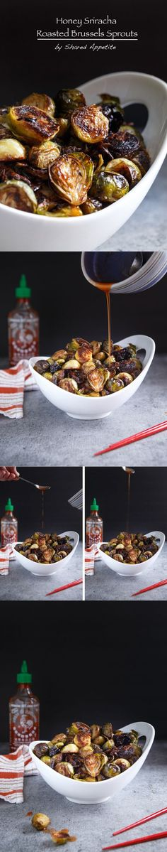 HONEY SRIRACHA ROASTED BRUSSELS SPROUTS. A really easy recipe thats healthy and makes a great side. Try this for Christmas. http://sharedappetite.com/recipes/honey-sriracha-roasted-brussels-sprouts/